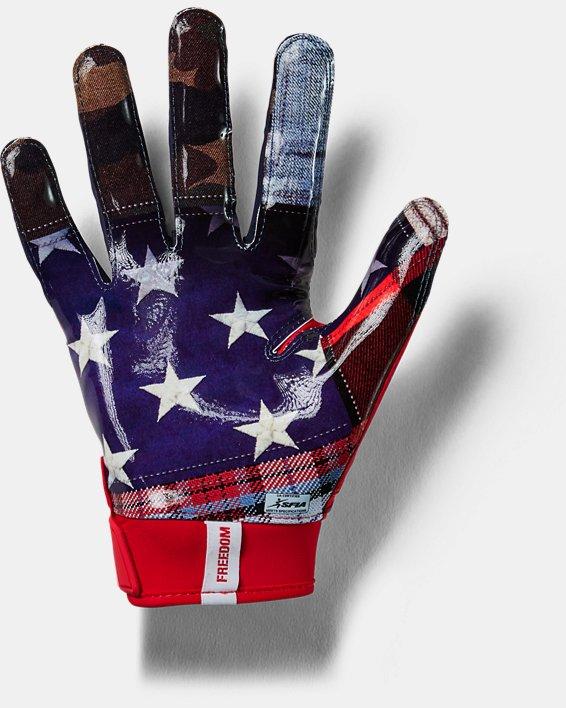 Men's UA Spotlight LE Football Gloves, Red, pdpMainDesktop image number 1