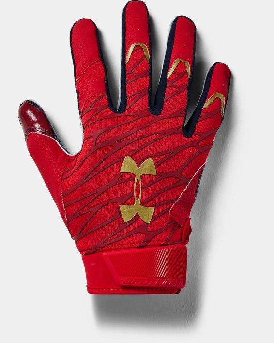 Men's UA Spotlight LE Football Gloves, Red, pdpMainDesktop image number 0