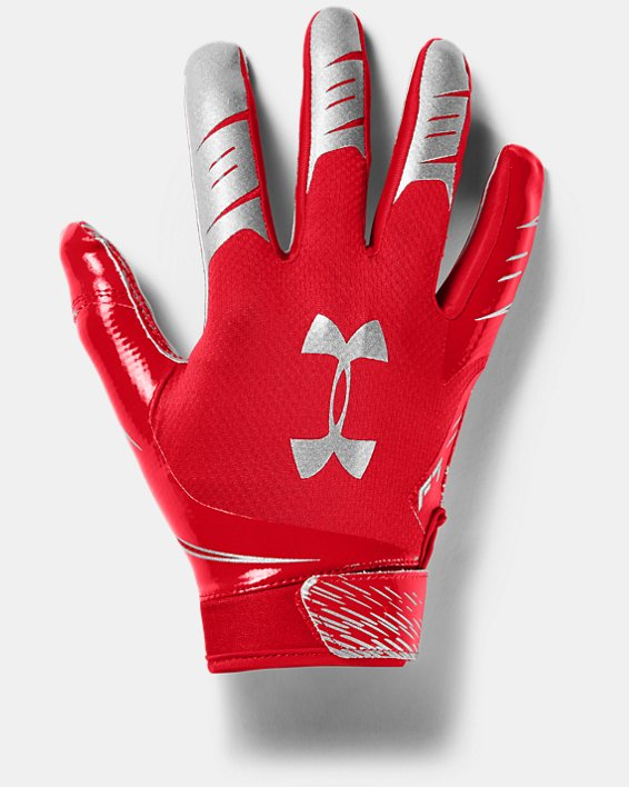 Men's UA F7 Football Gloves, Red, pdpMainDesktop image number 0