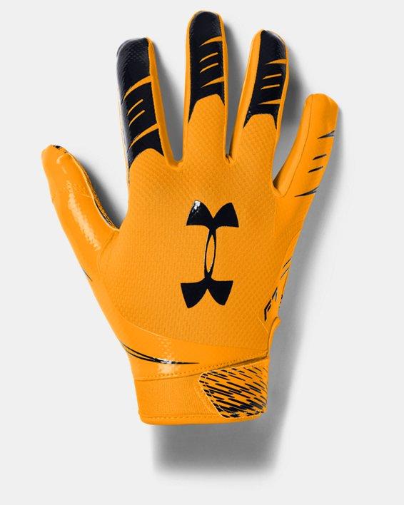 Men's UA F7 Football Gloves, Yellow, pdpMainDesktop image number 0