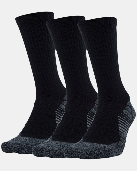 Men's UA Elevated Performance Crew  – 3-Pack Socks, Black, pdpMainDesktop image number 0