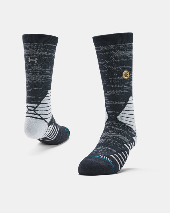 Men's UA x Stance Curry 7 Crew Socks, Gray, pdpMainDesktop image number 0