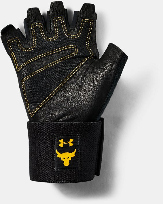 언더아머 프로젝트 락 맨 트레이닝 장갑 Under Armour Mens Project Rock Training Glove,Black / Steeltown Gold - 001