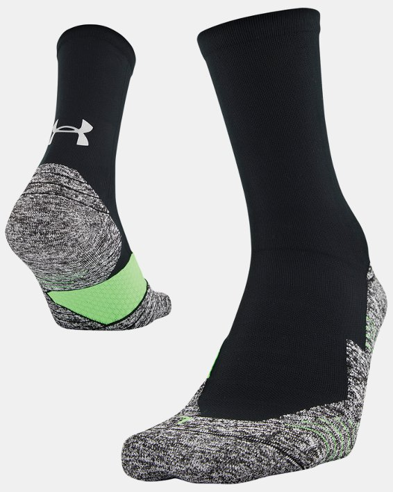 Adult UA Run Cushion Crew Socks, Black, pdpMainDesktop image number 3