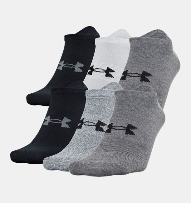 Men's UA Essential Lite No Show Socks – 6-Pack, Pitch Gray, , Pitch Gray, Click to view full size