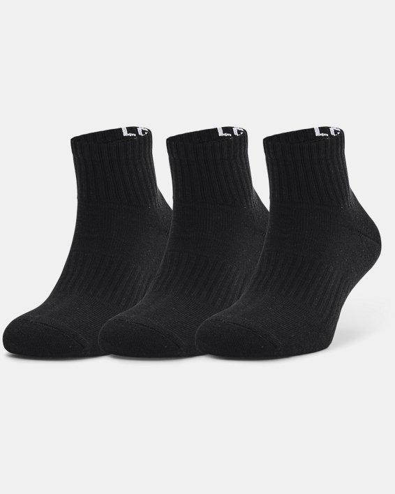 Unisex UA Core Quarter 3-Pack Socks, Black, pdpMainDesktop image number 2