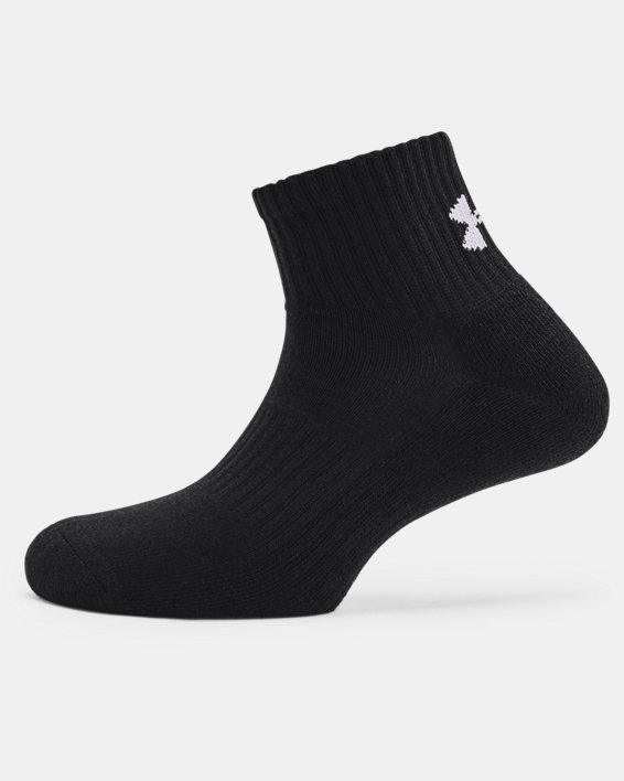 Unisex UA Core Quarter 3-Pack Socks, Black, pdpMainDesktop image number 3