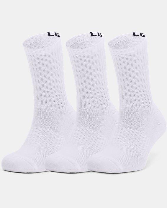 Unisex UA Core Crew 3-Pack Socks, White, pdpMainDesktop image number 2