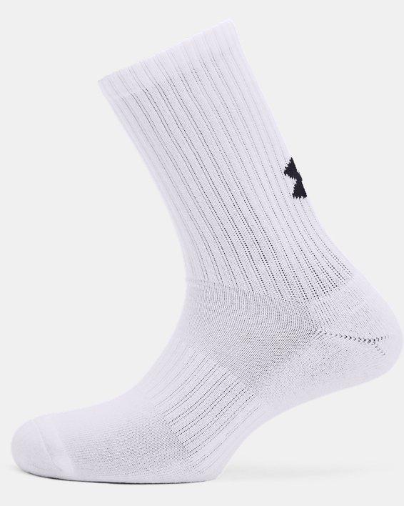 Unisex UA Core Crew 3-Pack Socks, White, pdpMainDesktop image number 3