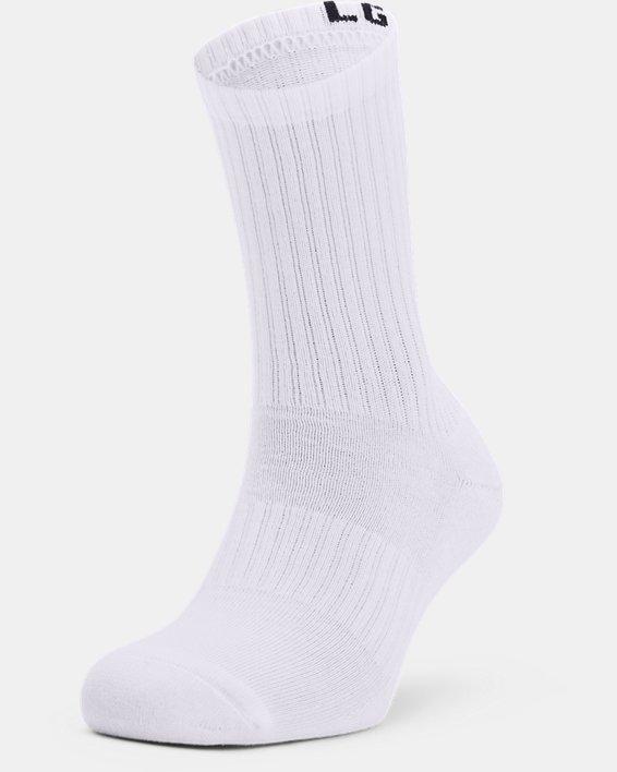 Unisex UA Core Crew 3-Pack Socks, White, pdpMainDesktop image number 0