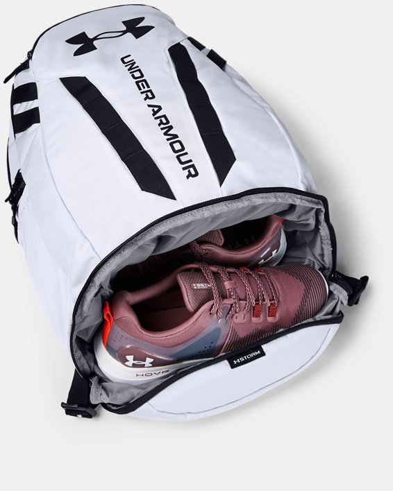 UA Hustle 5.0 Backpack, White, pdpMainDesktop image number 4