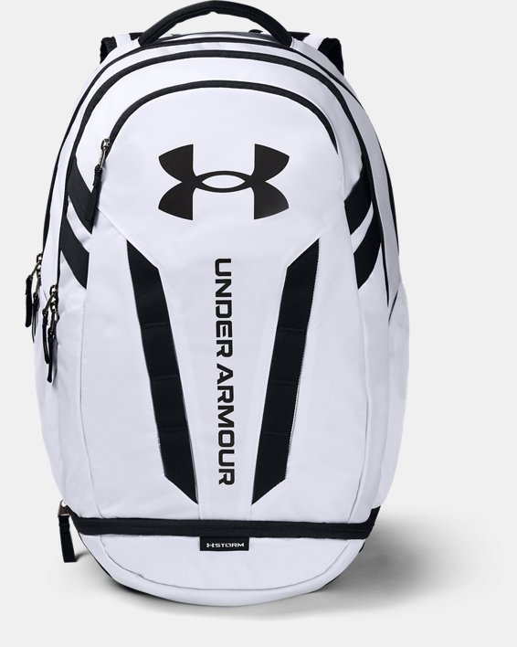 UA Hustle 5.0 Backpack, White, pdpMainDesktop image number 0
