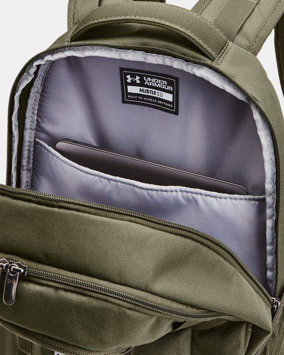 UA Hustle 5.0 Backpack, Green, pdpMainDesktop image number 4