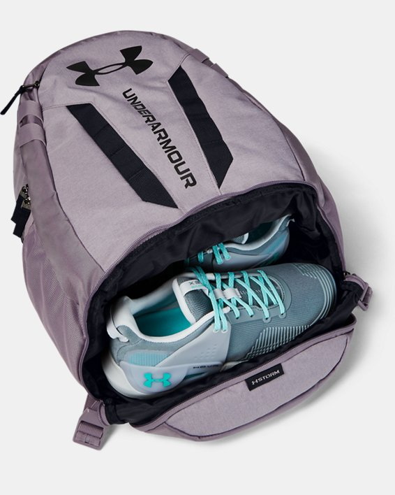 UA Hustle Backpack, Purple, pdpMainDesktop image number 2