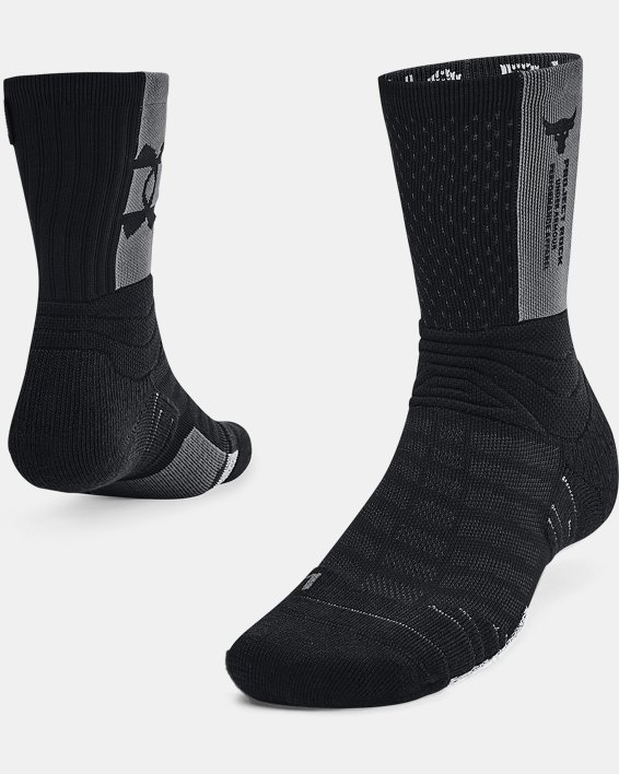 Unisex UA Playmaker Project Rock Crew Socks, Black, pdpMainDesktop image number 0