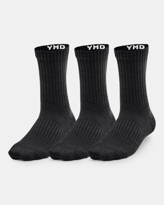Kids' UA Core Crew Socks 3-Pack, Black, pdpMainDesktop image number 0