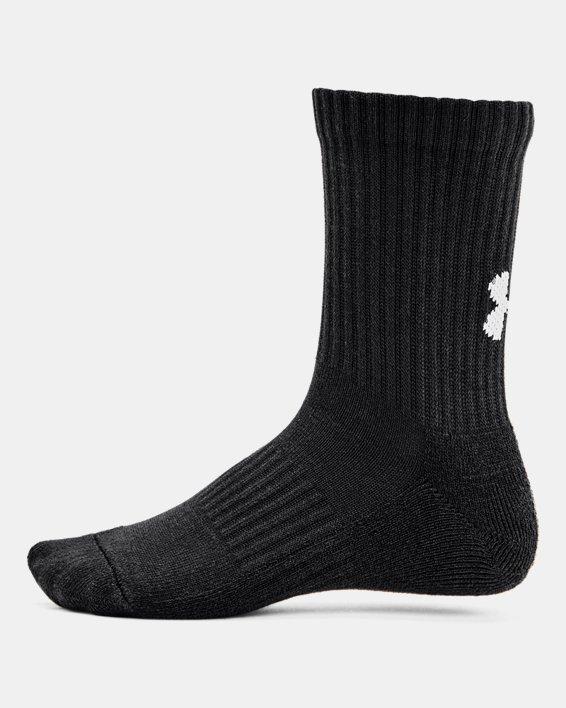 Kids' UA Core Crew Socks 3-Pack, Black, pdpMainDesktop image number 2