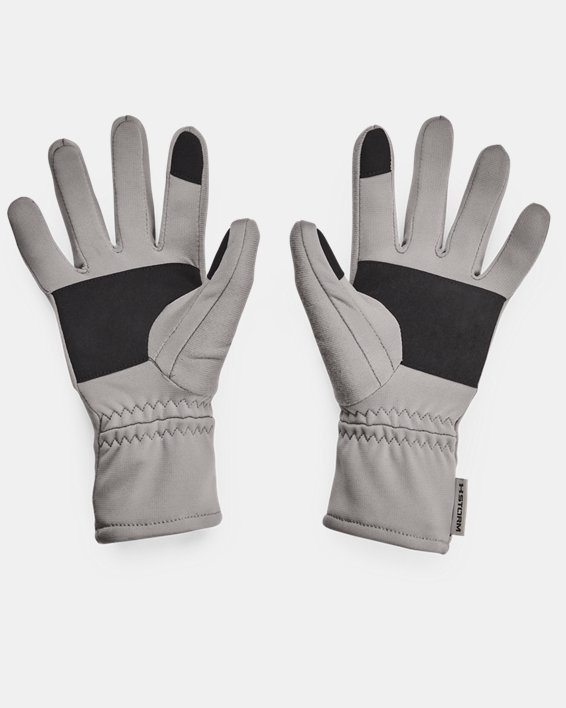 Women's UA Storm Fleece Gloves, Gray, pdpMainDesktop image number 1