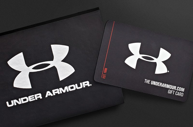 Display of the chic and simple Under Armour gift cards that are perfect for every holiday.