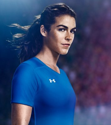 Kelley O'Hara wearing a blue UA soccer shirt