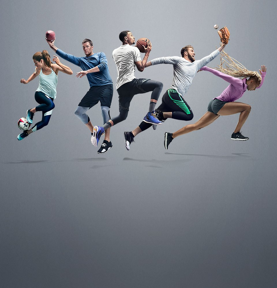 Five top UA athletes wearing gear from the Threadborne Collection, the new feeling of performance.
