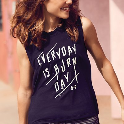 lose up of black graphic tank reading everyday is burn day