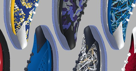 Digital versions of different customized UA Icon Curry One Basketball Shoes aligned toe to toe