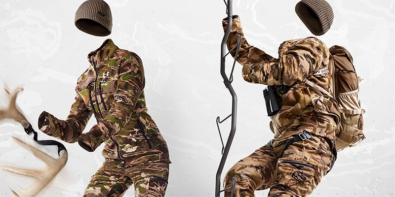 Two invisible figures wearing UA Stealth Reaper camo hunting gear while rattling a bow