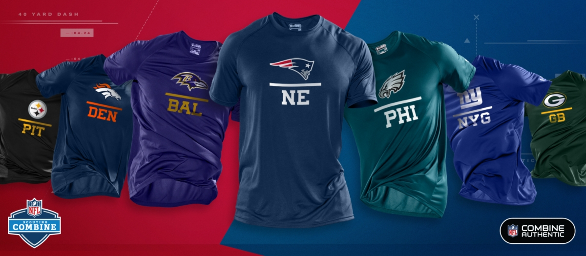 e26dc3d7 NFL Combine Authentic logo over a stack of hoodies showing NFL teams.