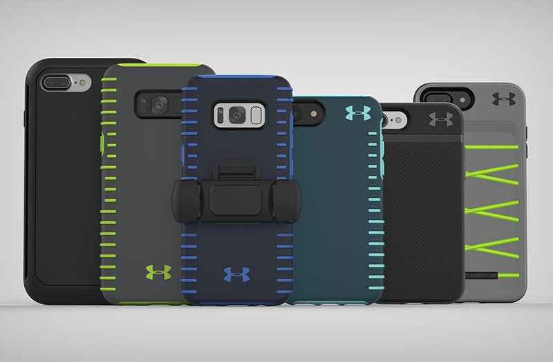 Collection of different color & size UA Phone Cases in a row featuring a UA Phone Mount attached