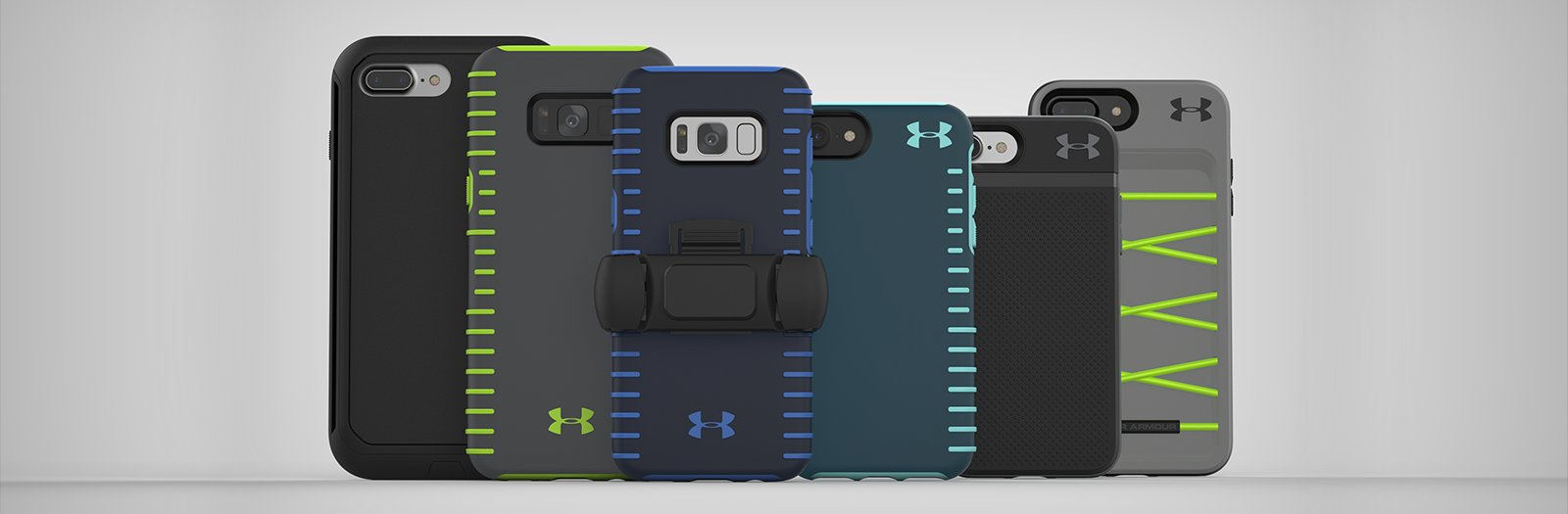 d91c75017 Collection of different color   size UA Phone Cases in a row featuring a UA  Phone
