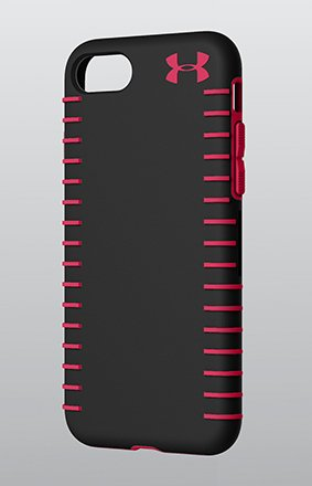 Product shot of a black and red UA Protect Grip phone case showing the side grips feature