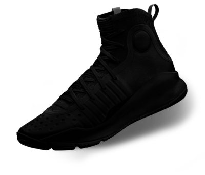 Blacked out product shot of a UA Curry 4 Basketball Shoe
