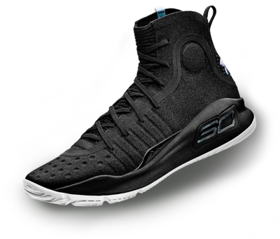 A black UA Curry 4 basketball shoe