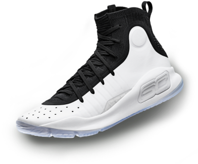 A black & white UA Curry 4 basketball shoe