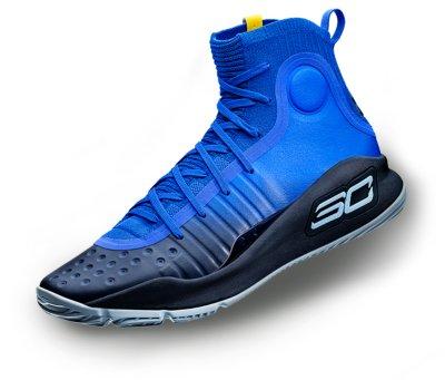 A black \u0026 white UA Curry 4 basketball shoe