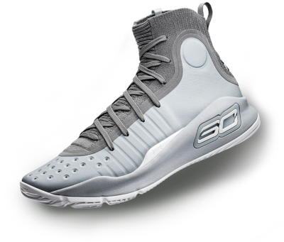 A black & white UA Curry 4 basketball shoe.