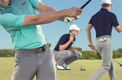 Jordan Spieth wearing UA Showdown golf pants & polo while in a variety of positions on the green