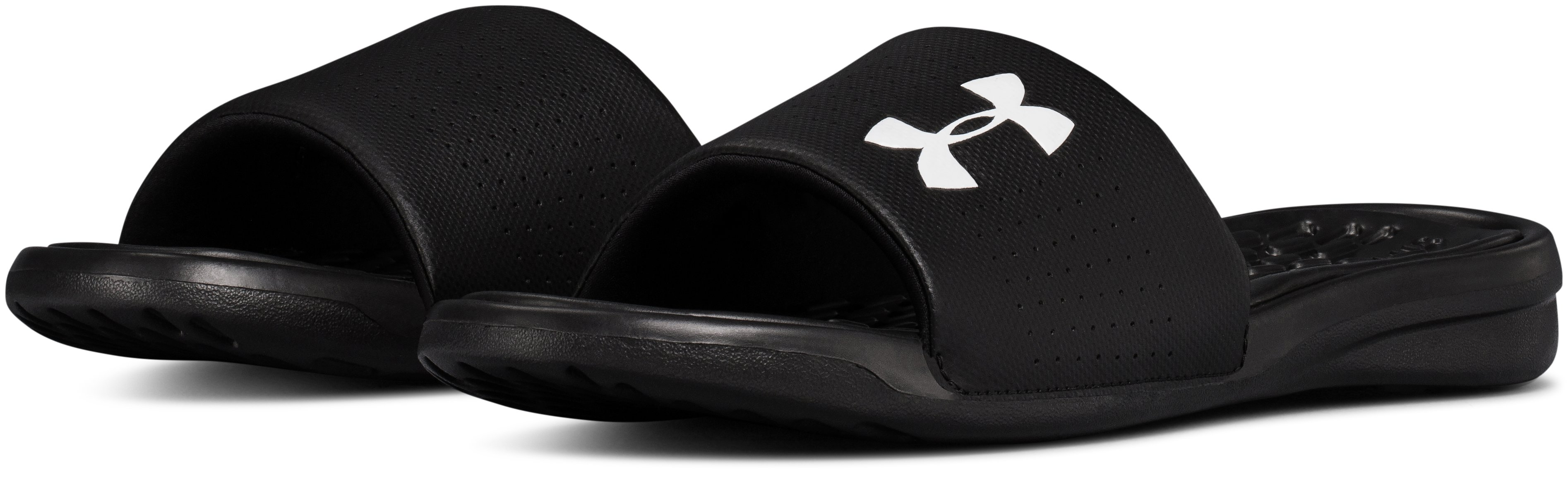 Men's UA Playmaker Fixed Strap Slides, Black ,
