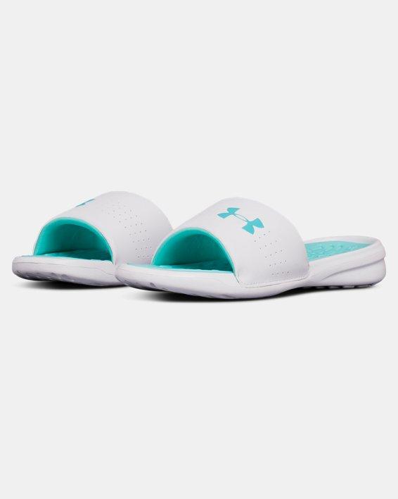 Women's UA Playmaker Fixed Strap Slides, Blue, pdpMainDesktop image number 4
