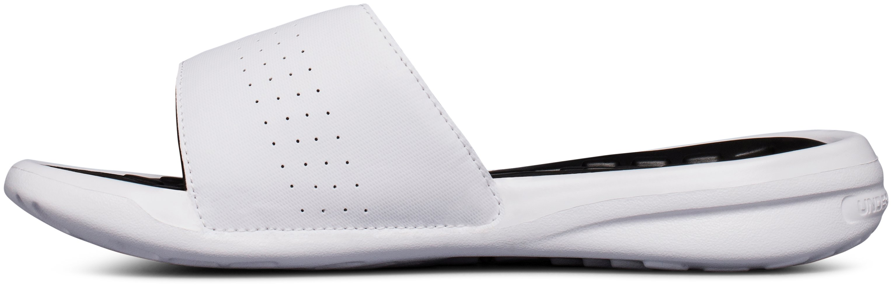 Women's UA Playmaker Adjustable Slides, White,