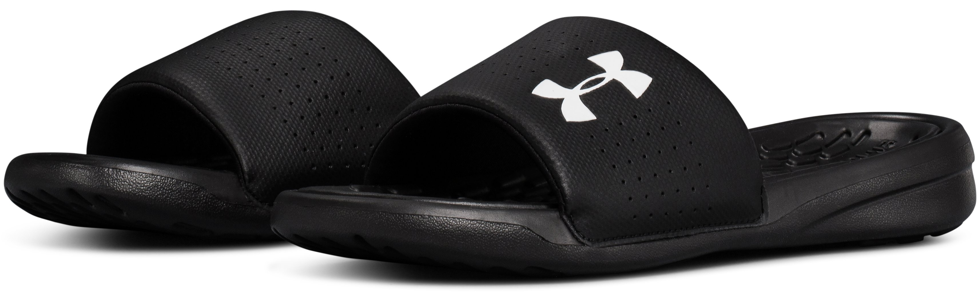 Boys' UA Playmaker Fixed Strap Slides, Black ,