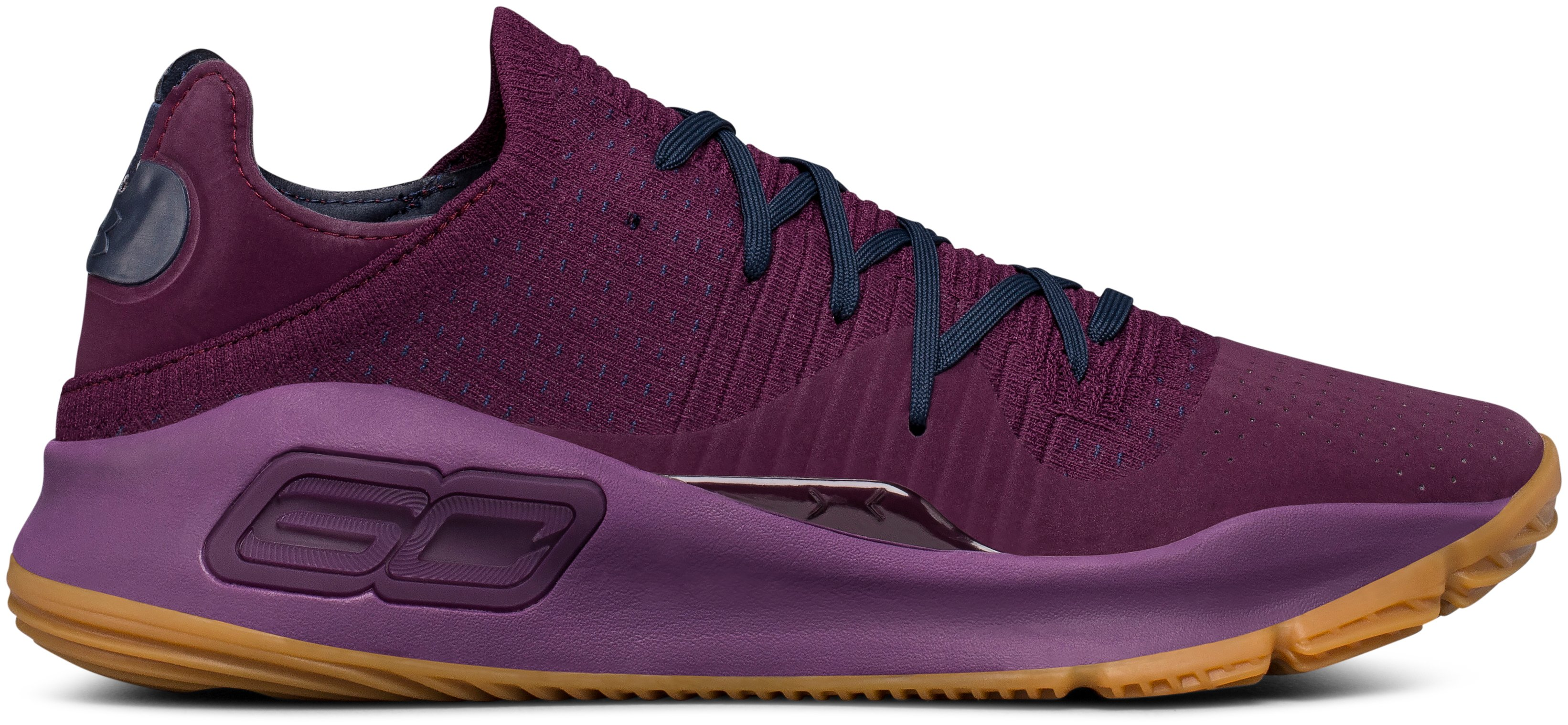 Men's UA Curry 4 Low Basketball Shoes, MERLOT, undefined