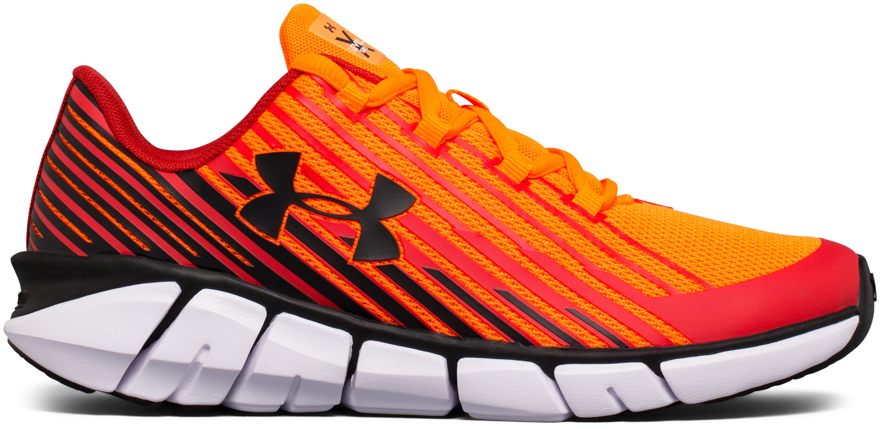 Boys' Grade School UA X Level Scramjet Remix Running Shoes, Blaze Orange,