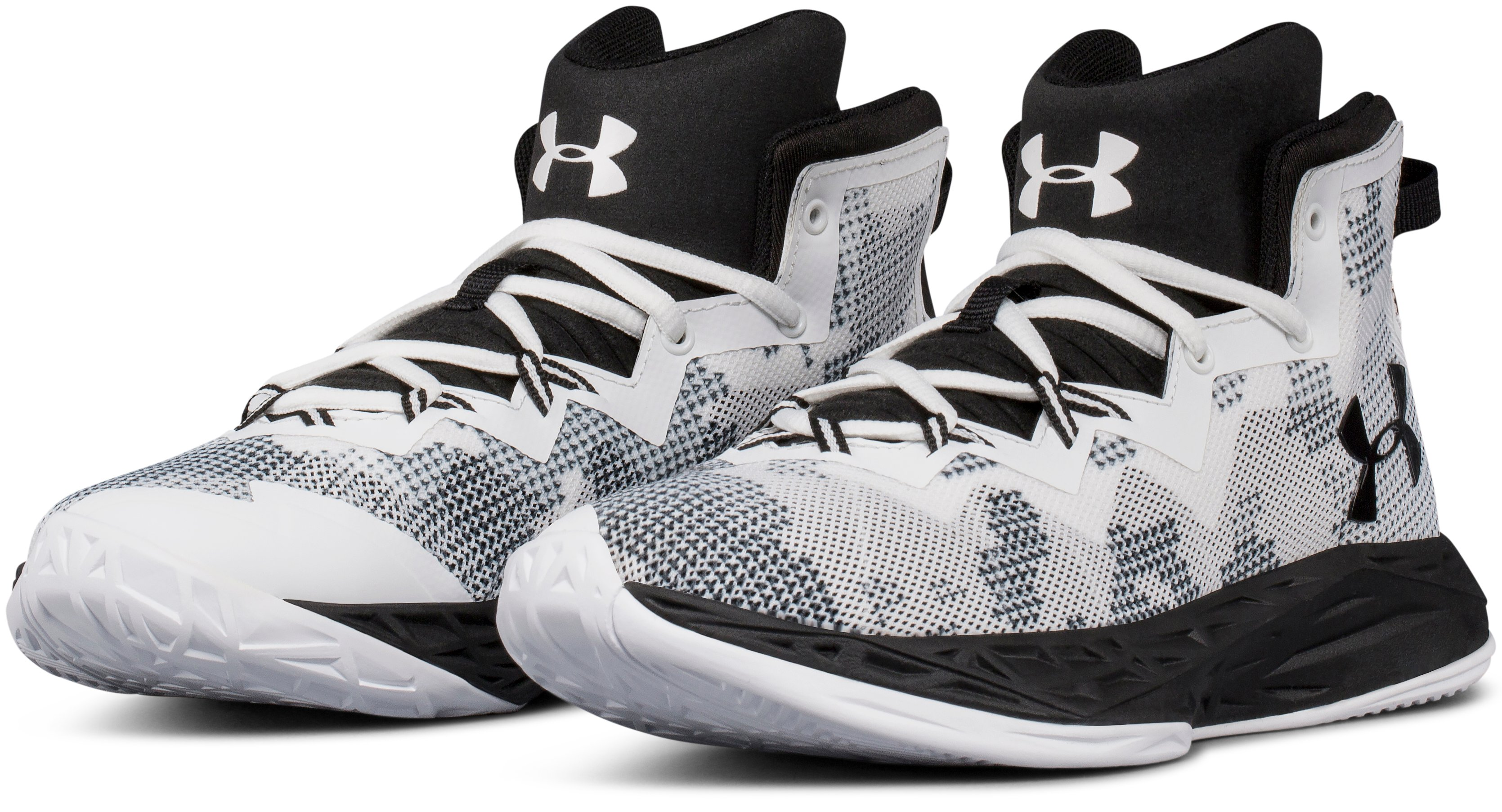 Boys' Grade School UA Lightning 4 Basketball Shoes, White, undefined