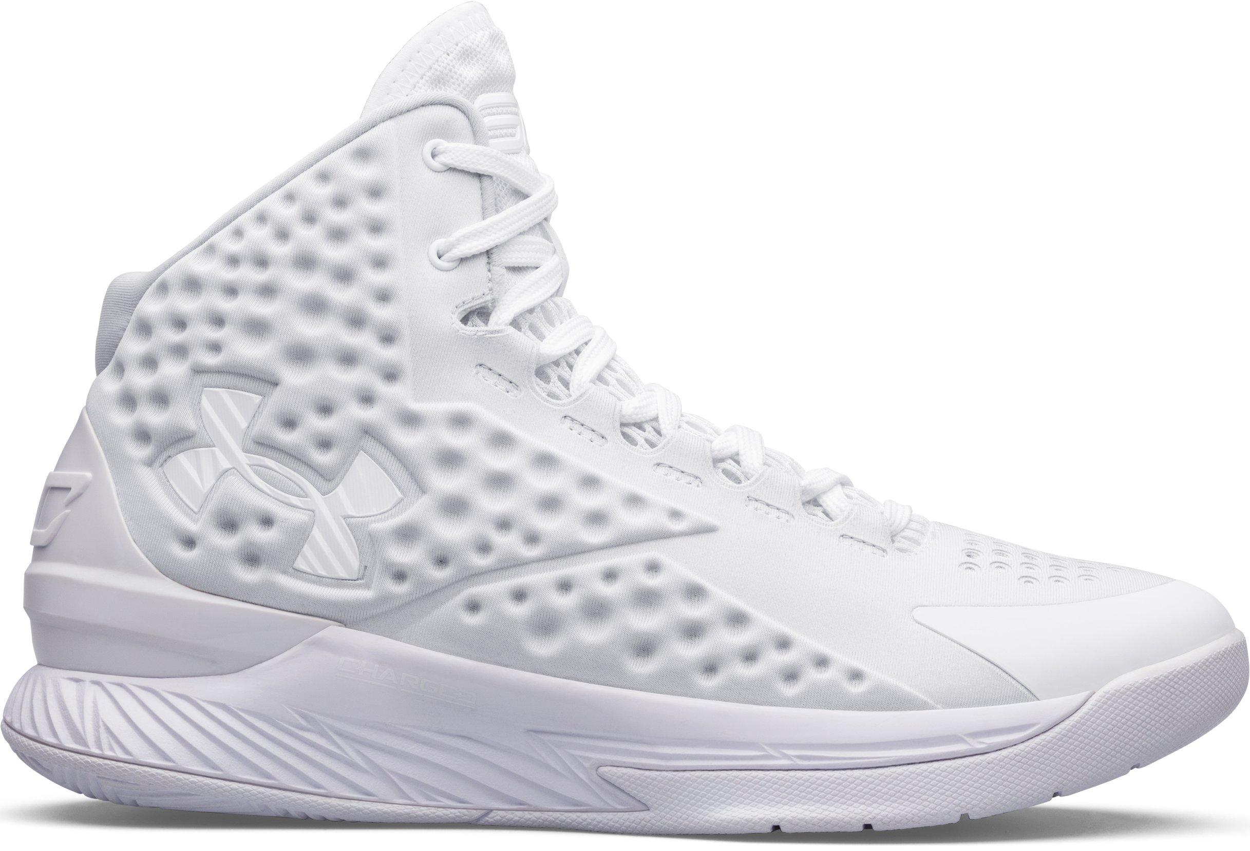 An all-white UA Icon Curry One Basketball Shoe