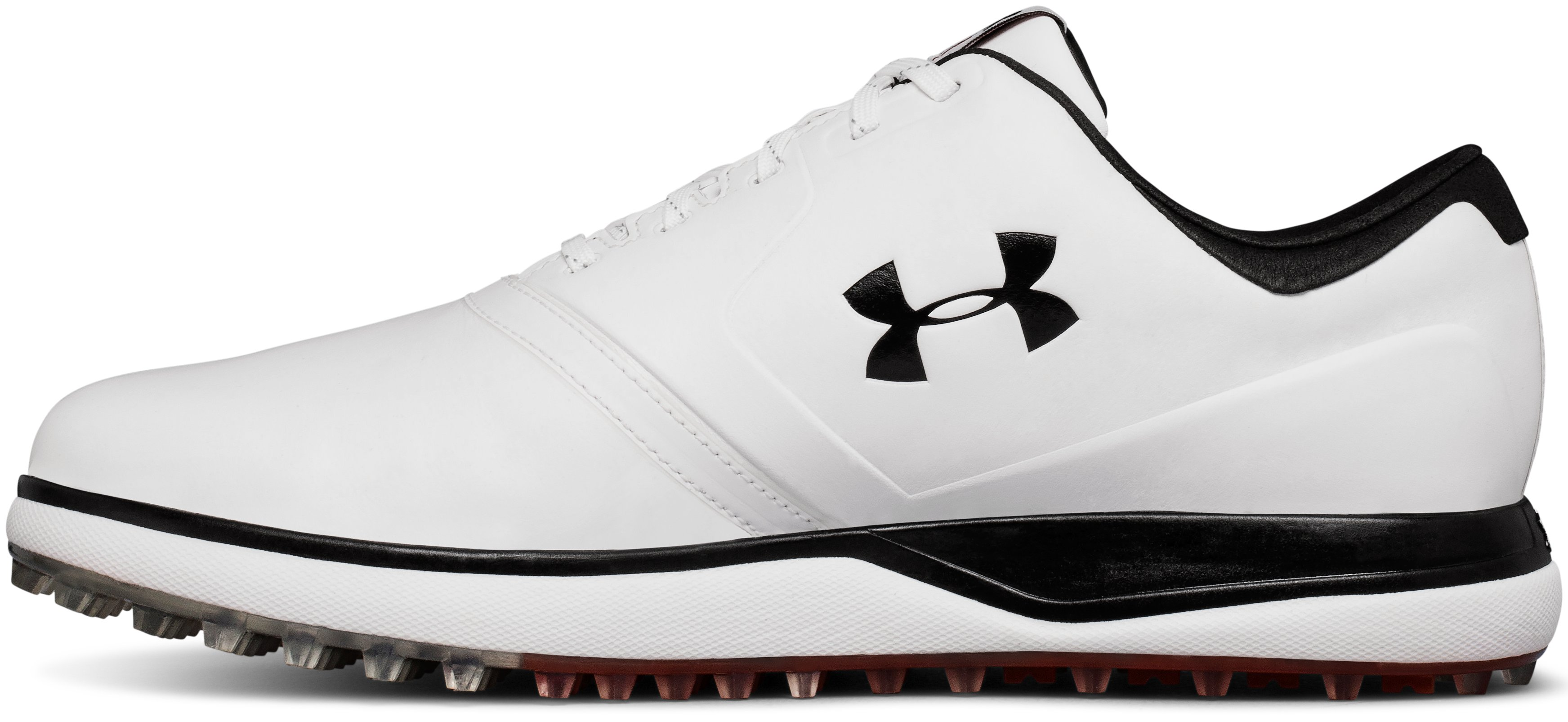 Men's UA Performance SL Leather Spikeless Golf Shoes, White,