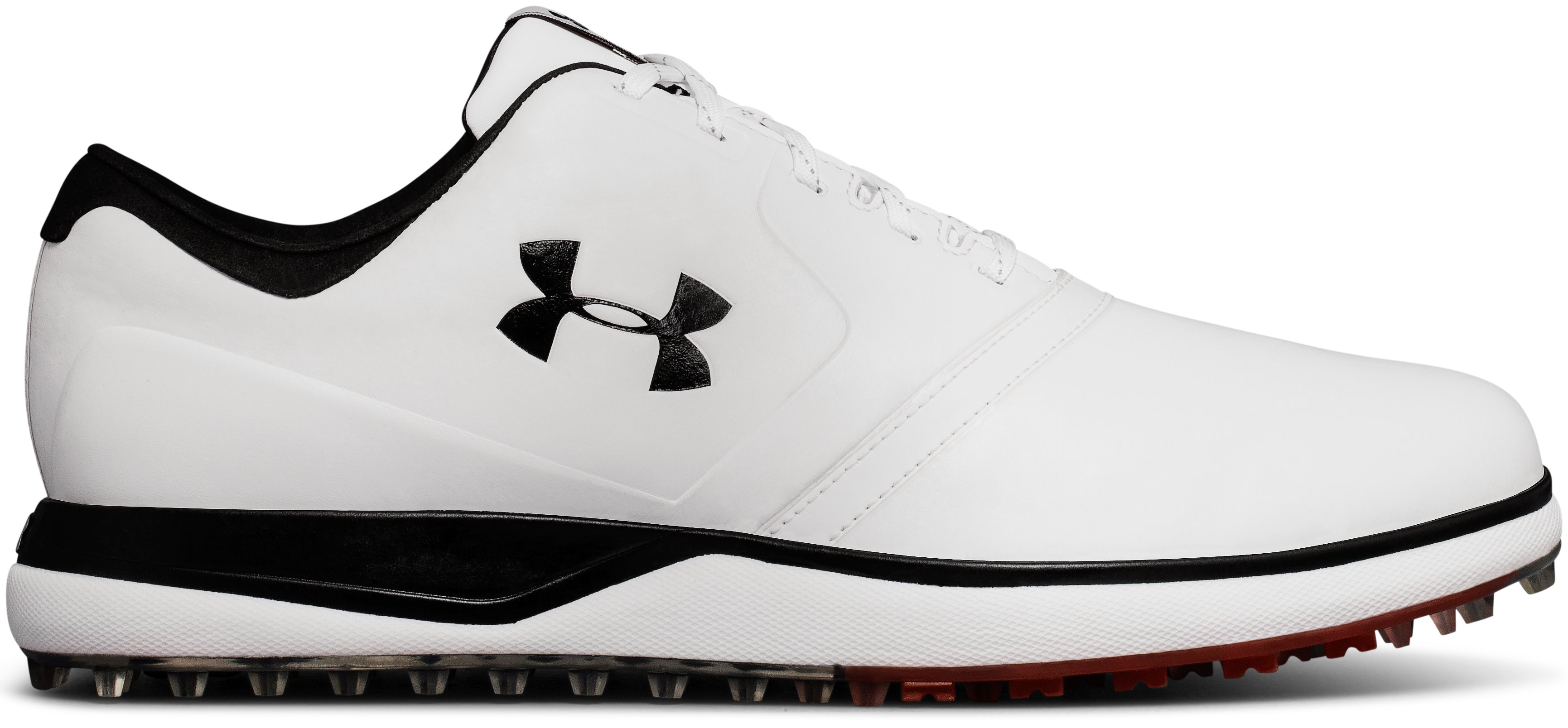 Men's UA Performance SL Leather Spikeless Golf Shoes, White, undefined