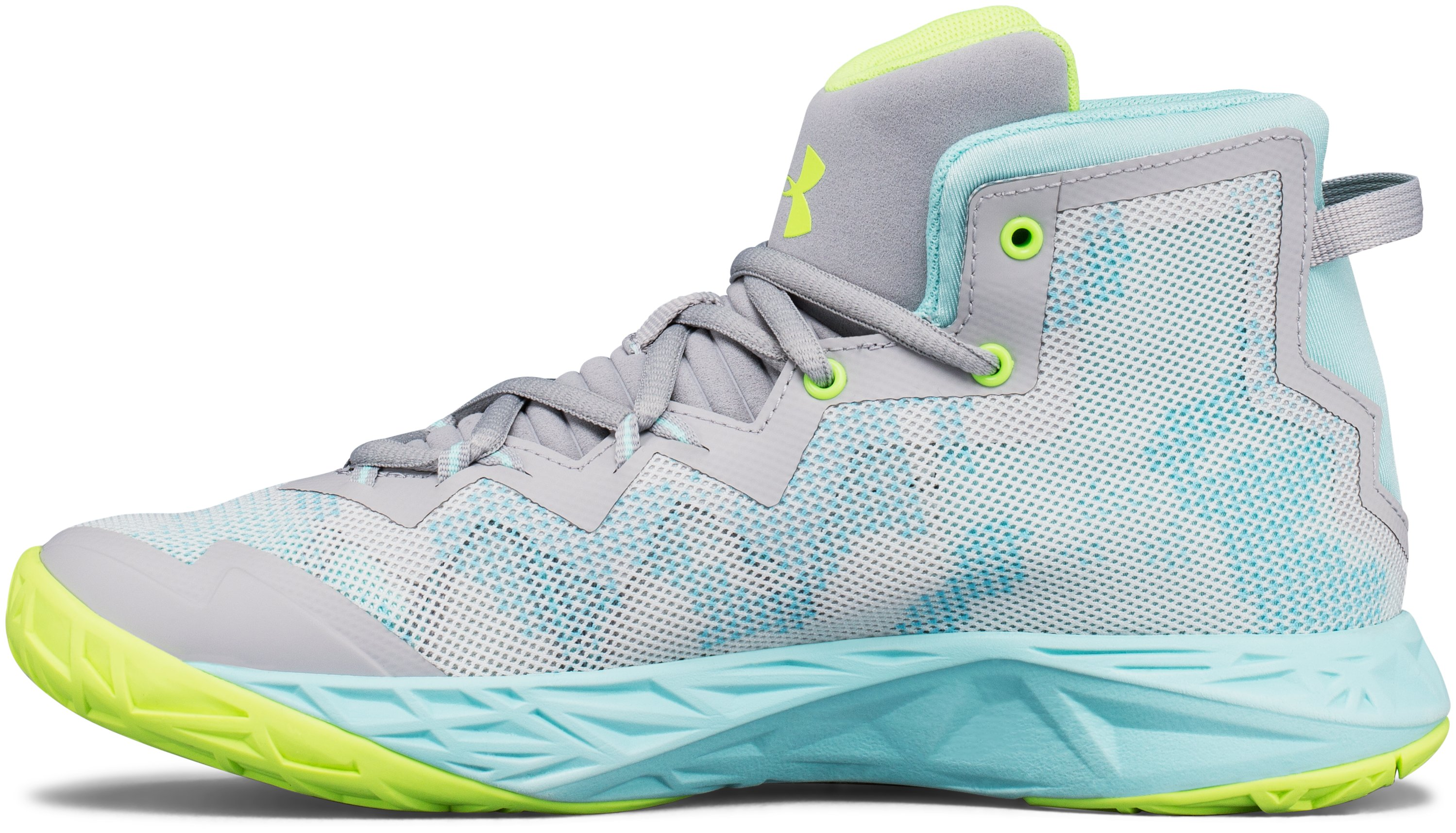 Girls' Grade School UA Lightning 4 Basketball Shoes, OVERCAST GRAY,