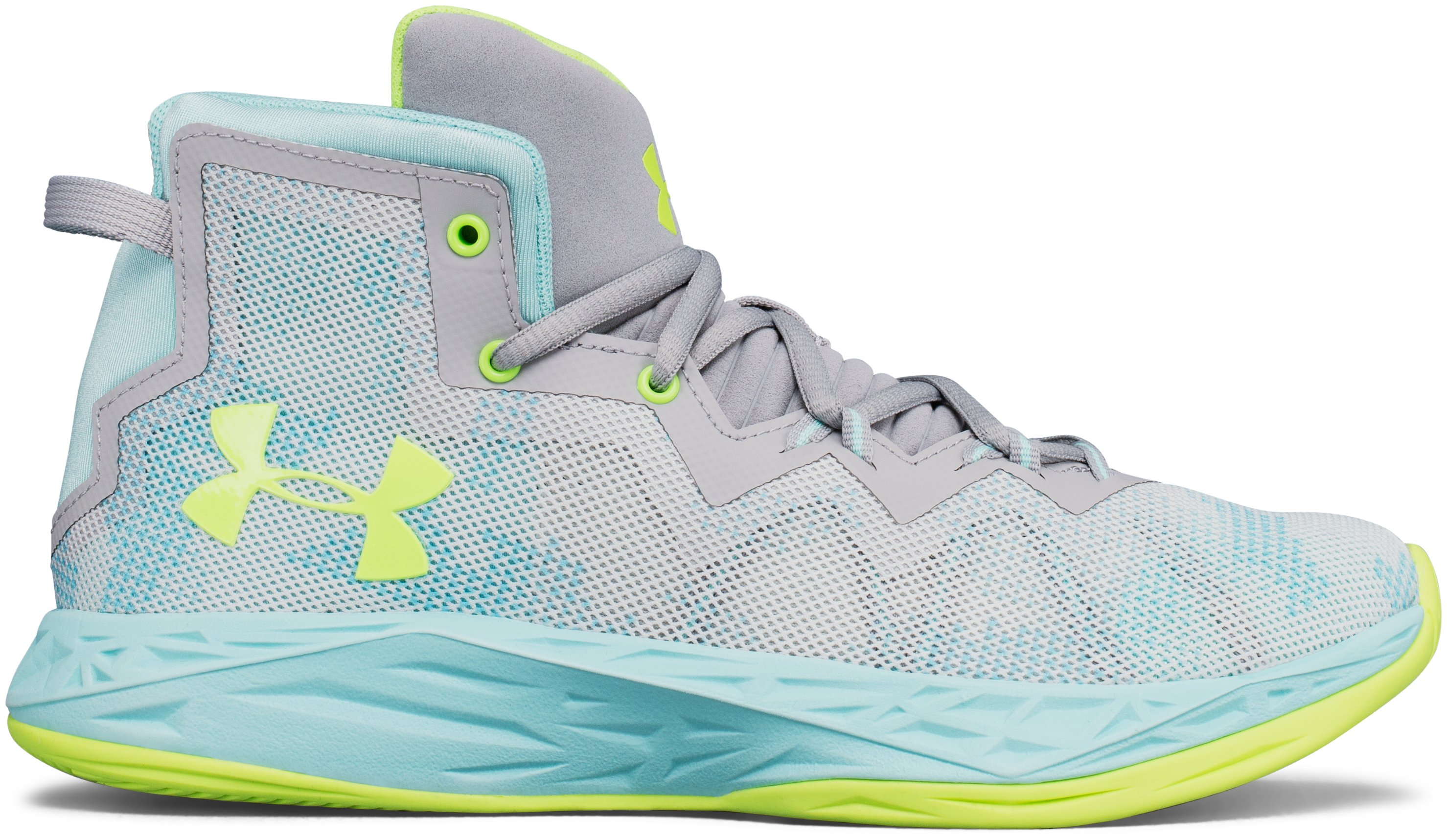 Girls' Grade School UA Lightning 4 Basketball Shoes, OVERCAST GRAY